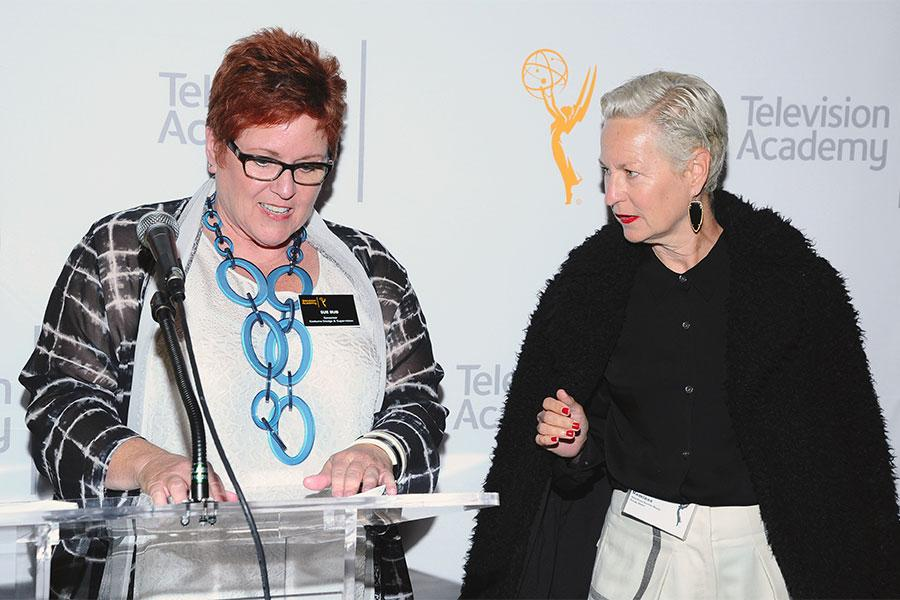 Television Academy governor Sue Bub presents a certificate to Lou Eyrich of American Horror Story: Freak Show at The 9th Annual Outstanding Art of Television Costume Design Exhibition at the FIDM Museum & Galleries, Saturday, July 18, 2015, in Los Angeles