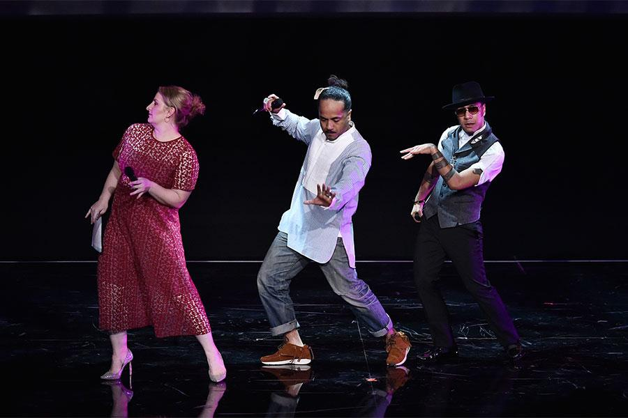 "Television Academy governor Mandy Moore dances with Rich+Tone Taladuega at ""Whose Dance Is It Anyway?"" February 16, 2017 at the Saban Media Center in North Nollywood, California."