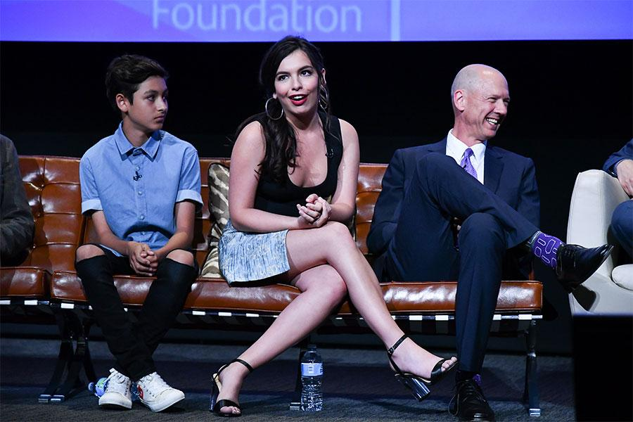 Marcel Ruiz, Isabella Gomez, and Mike Royce onstage at The Power of TV: A Conversation with Norman Lear and One Day at a Time, presented by the Television Academy Foundation and Netflix in celebration of the Foundation's 20th Anniversary of THE INTERVIEWS