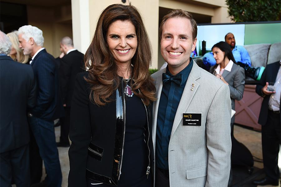 Maris Shriver and Television Academy president and COO Maury McIntyre enjoy the reception at the Eighth Annual Television Academy Honors, May 27 at the Montage Beverly Hills.