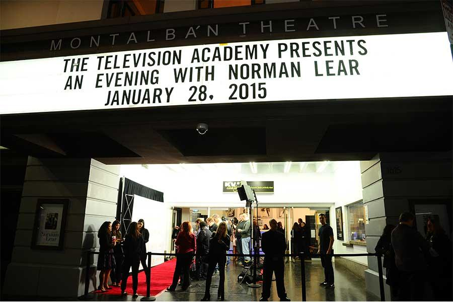 The scene outside the Montalban Theater at An Evening with Norman Lear at the Montalban Theater in Hollywood.