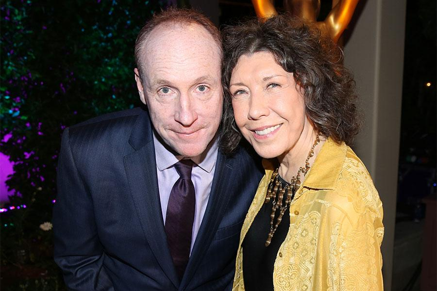 Matt Walsh and Lily Tomlin at the Performers Peer Group Celebration, August 22, 2016, at the Montage Beverly Hills in Beverly Hills, California.