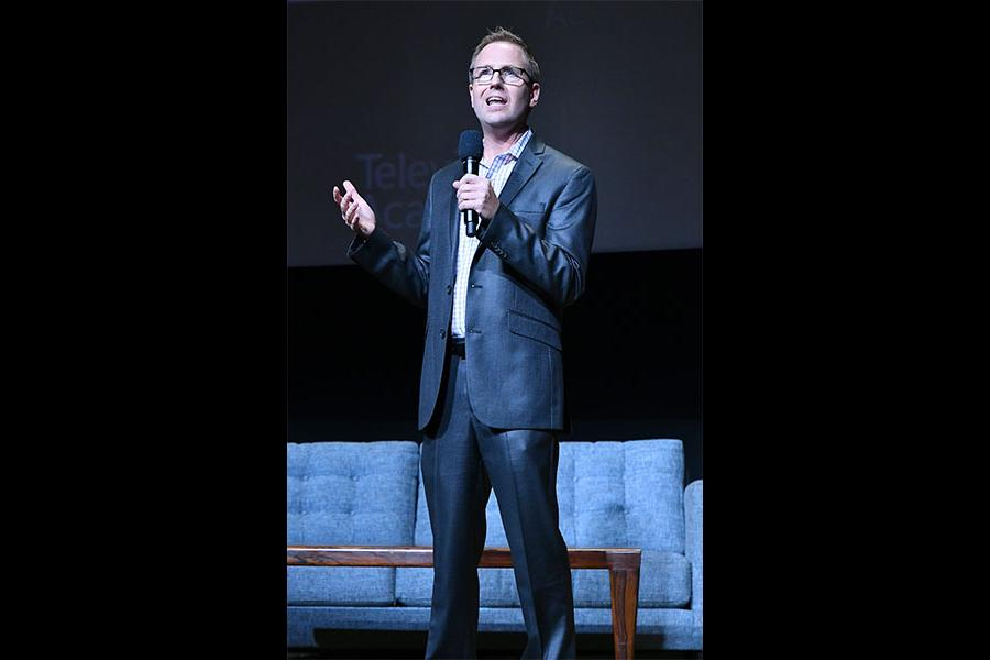 Television Academy president and COO Maury McIntyre speaks at The Rise of the Cerebral Comedy: A Conversation with Bob Newhart, presented Tuesday, Aug. 8, 2017, at the Television Academy's Wolf Theater at the Saban Media Center in North Hollywood, Califor