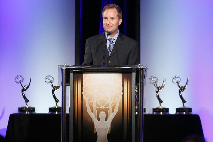 Television Academy president and COO Maury McIntyre at the 2015 Engineering Emmys at the Loews Hotel in Los Angeles, October 28, 2015.