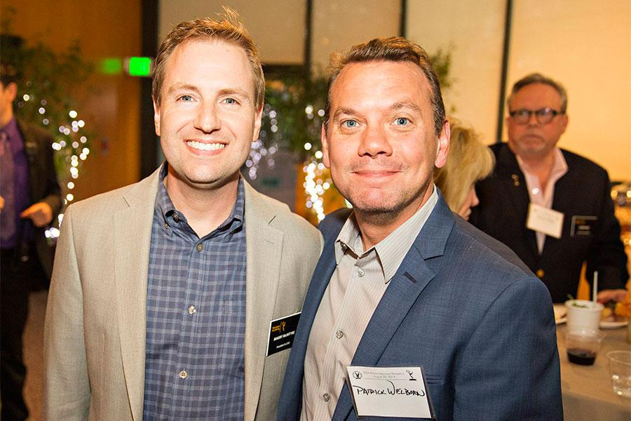 Television Academy president and COO Maury McIntyre with Patrick Welborn at the Directors Nominee Reception at the Directors Guild of America in West Hollywood, California.