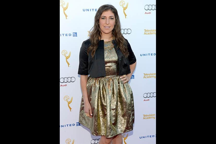 Mayim Bialik arrives at the Performers Peer Group nominee reception in West Hollywood.