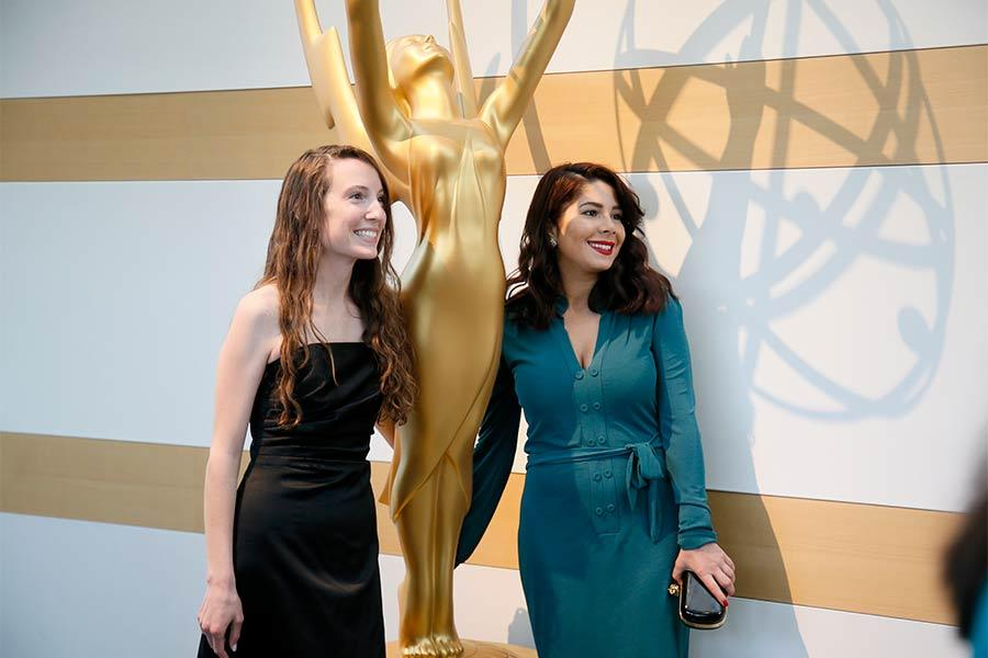 Double winner Melissa Hoppe and Tara Atashgah at the cocktail party at the 36th College Television Awards at the Skirball Cultural Center in Los Angeles, April 23, 2015.