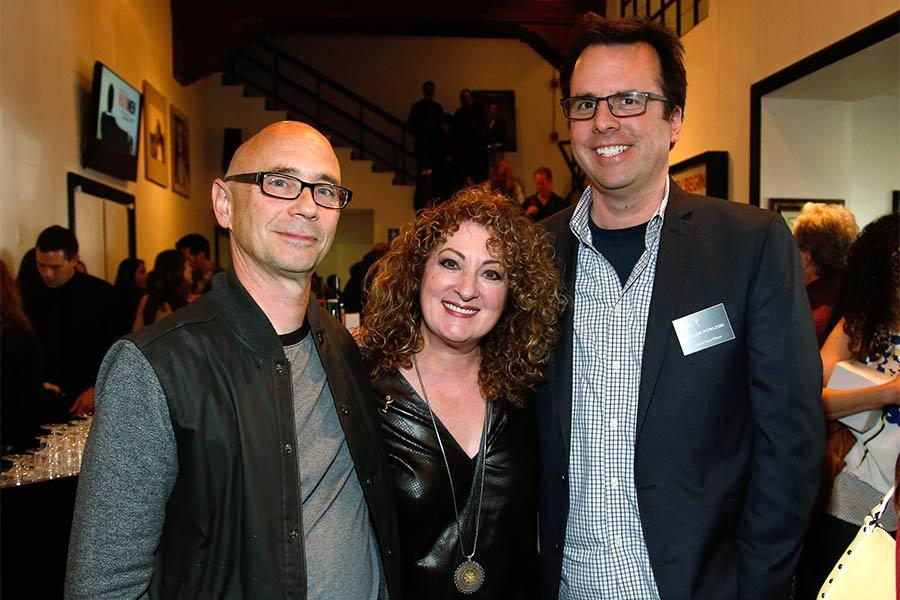 """Television Academy governor (Music) Michael Levine, Patricia Messina, and Television Academy governor (Special Visual Effects) William Powloski attend the reception at """"A Farewell to Mad Men,"""" May 17, 2015 at the Montalbán Theater in Hollywood, California"""