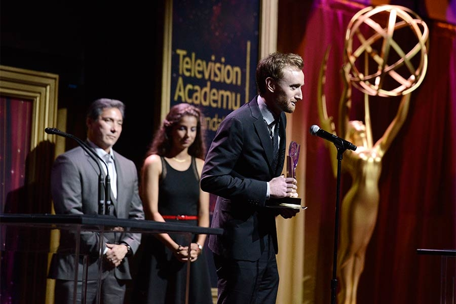 Michael Steiner accepts an award at the 36th College Television Awards at the Skirball Cultural Center in Los Angeles, California, April 23, 2015.