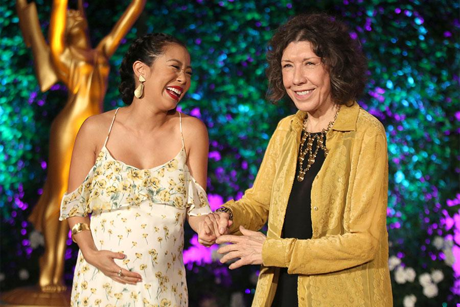 Michelle Ang and Lily Tomlin at the Performers Peer Group Celebration, August 22, 2016, at the Montage Beverly Hills in Beverly Hills, California.