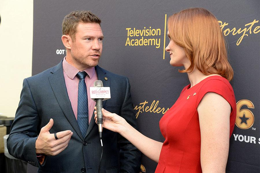 Jennifer Marshall of Veterans in Film and Television interviews Nate Boyer at the Got Your 6 Storytellers event, November 10, 2015, in Los Angeles, California.