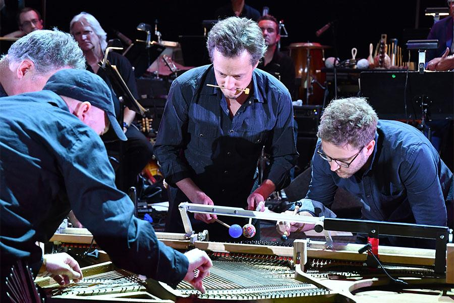 Composer Nathan Barr and his team perform on an instrument of his own creation at WORDS + MUSIC, presented Thursday, June 29, 2017 at the Television Academy's Wolf Theatre at the Saban Media Center in North Hollywood, California.