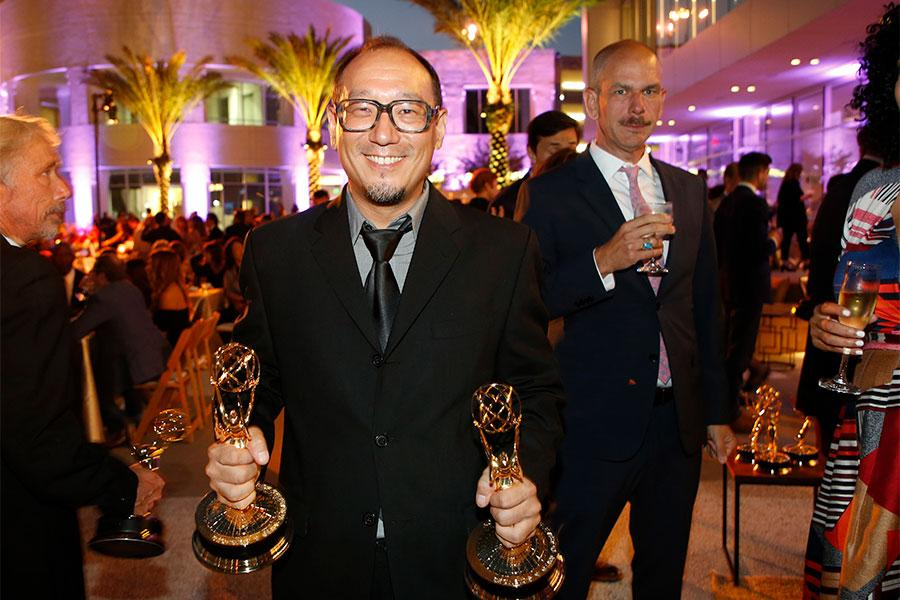 Nic Cha Kim at the L.A. Area Emmy Awards presented at the Television Academy's Wolf Theatre at the Saban Media Center on Saturday, July 22, 2017, in North Hollywood, California.