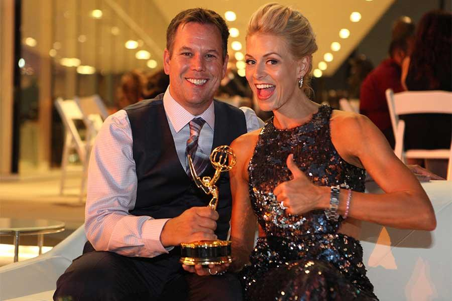 Nick and Dara Simpson celebrate his win at the 68th Los Angeles Area Emmys, July 23, 2016, at the Saban Media Center, North Hollywood, California.