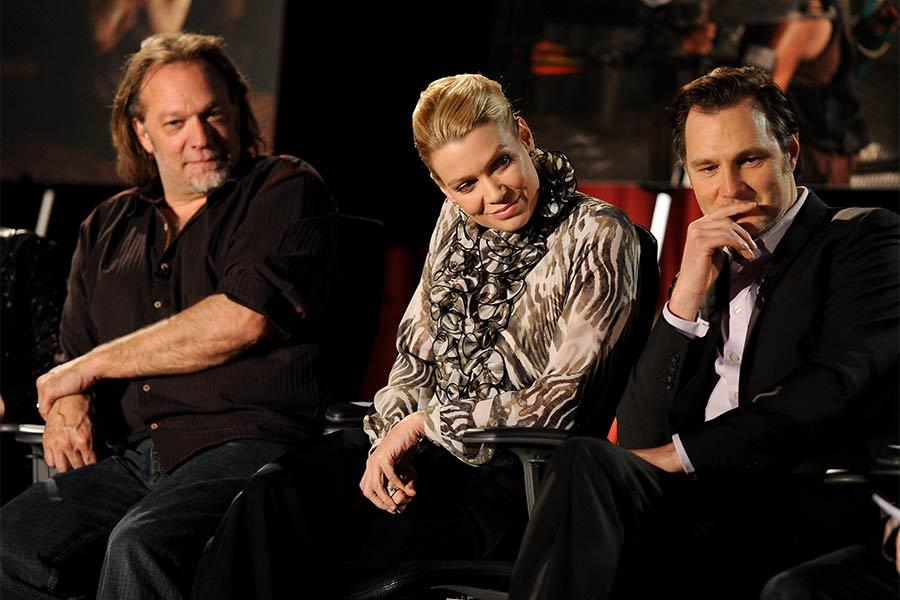 Co-executive producer and EFX makeup supervisor Greg Nicotero, actors Laurie Holden and David Morrissey at An Evening with The Walking Dead.