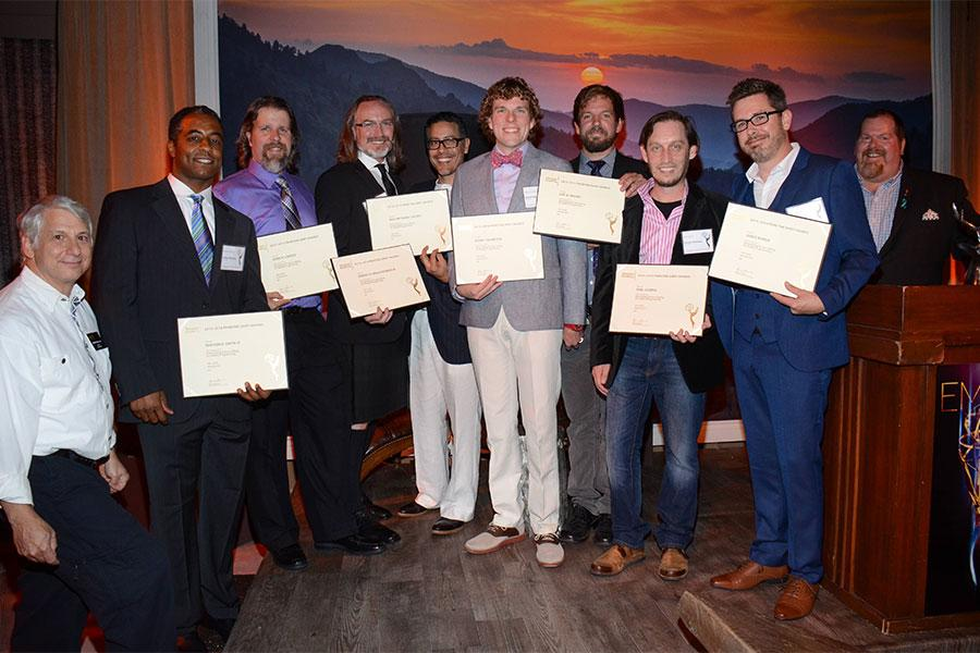 Stuart Bass, Hudson H. Smith III, John M. Larson, Robert M. Malachowski, William Fabien Castro, Robby Thompson, Eric B. Shanks, Noel Guerra, James Munoz and Scott Boyd at the Picture Editors Nominee Reception in North Hollywood, California.