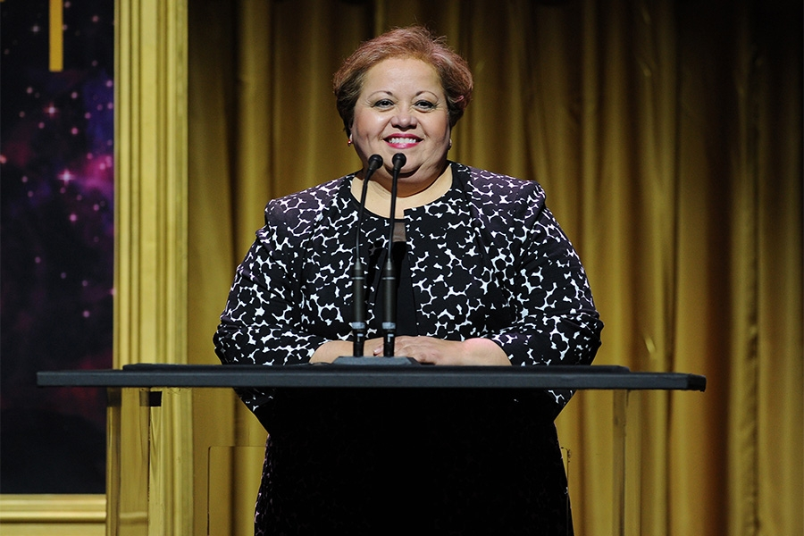Norma Provencio Pichardo, Executive Director of the Television Academy Foundation addresses the audience at the 36th College Television Awards at the Skirball Cultural Center in Los Angeles, California, April 23, 2015.