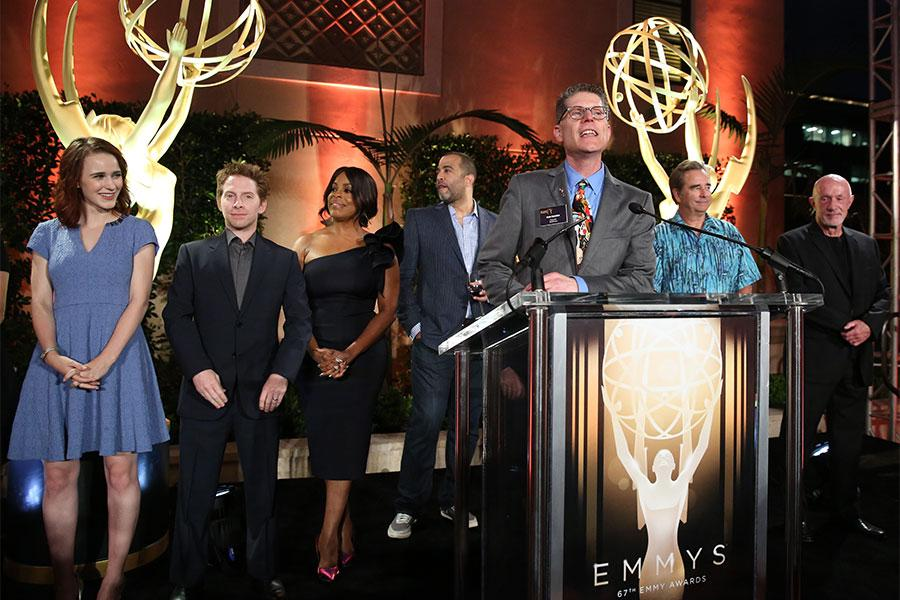 Television Performers Peer Group governor Bob Bergen introduces the nominees for the 67th Primetime Emmys at the Performers Peer Group Celebration August 24 at the Montage in Beverly Hills, California.