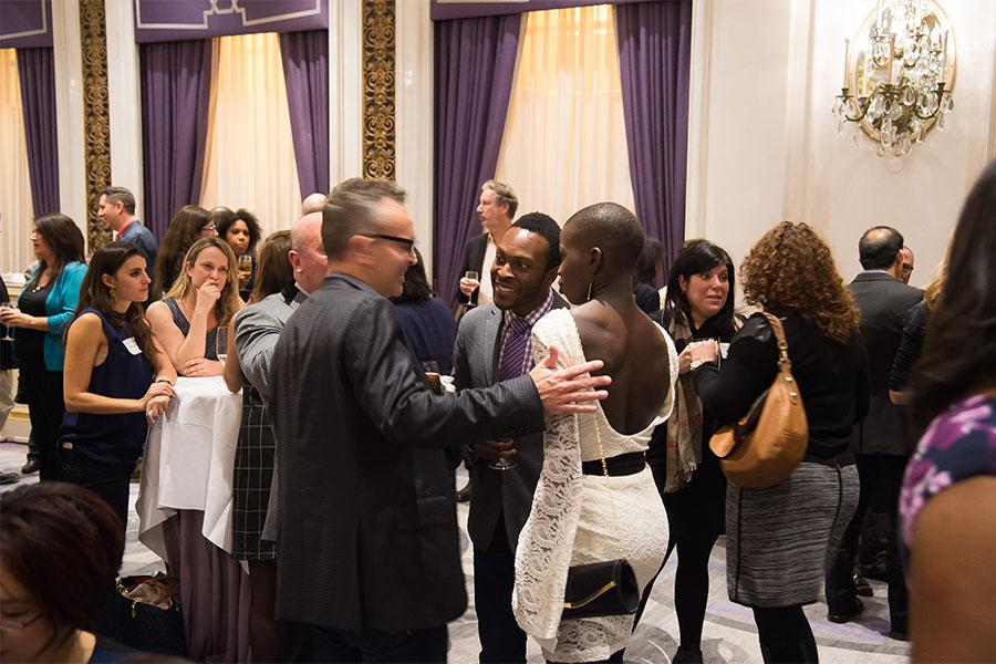 Guests mingle at the New York Networking Night Out, November 13, 2015 at the St. Regis in New York City.
