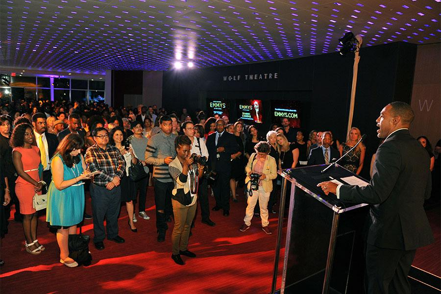 The guests enjoy a speaker at the Television Academy's Dynamic and Diverse event, August 25, 2016, at the Saban Media Center, North Hollywood, California.