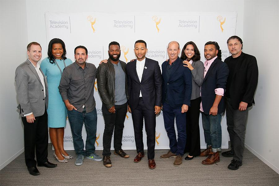 Television Academy president and COO Maury McIntyre with the panelists at Unlock Our Potential at the Television Academy's Saban Media Center, August 9, 2016.