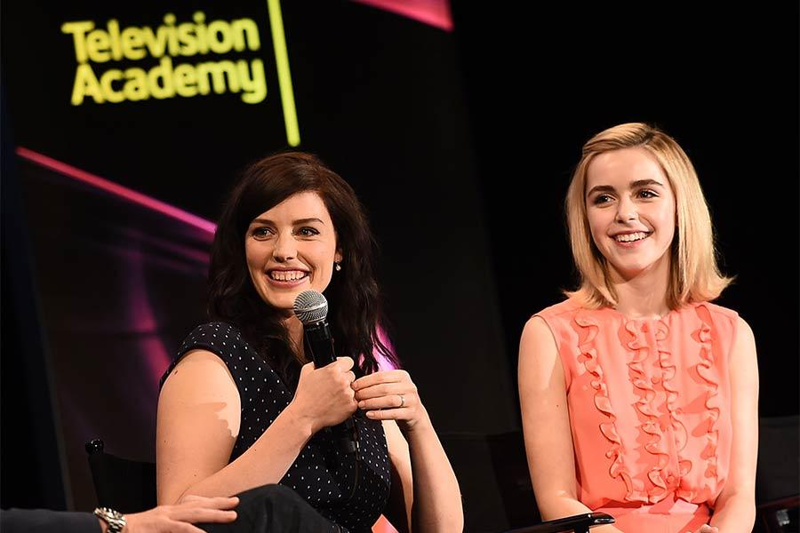 "Jessica Paré and Kiernan Shipka onstage at ""A Farewell to Mad Men,"" May 17, 2015 at the Montalbán Theater in Hollywood, California."