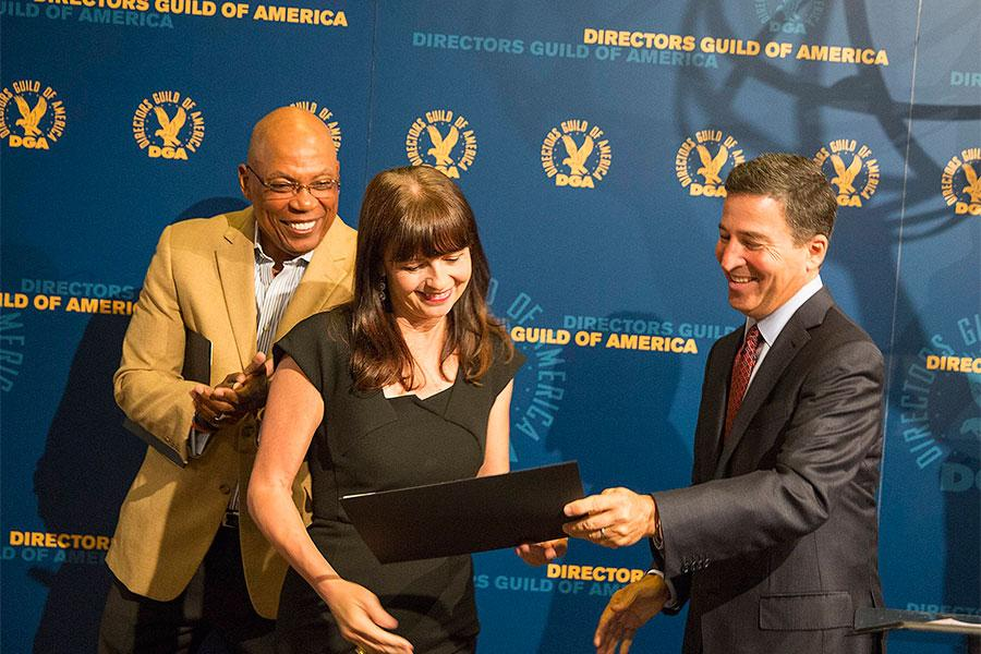 Paris Barclay, Gail Mancuso and Bruce Rosenblum at the Directors Nominee Reception at the Directors Guild of America in West Hollywood, California.