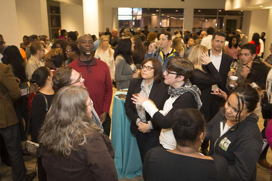 """Guests mingle at the Television Academy's first member event in Atlanta, """"A Conversation with Tyler Perry,"""" at the Woodruff Arts Center on Thursday, May 4, 2017."""