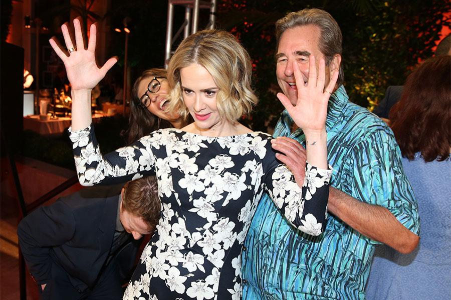 Sarah Paulson photobombs Beau Bridges and Mayim BIalik at the Performers Peer Group Celebration August 24 at the Montage in Beverly Hills, California.