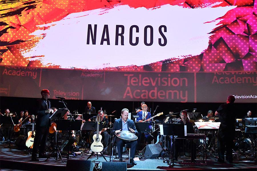 Pedro Bromfman performs with the orchestra at WORDS + MUSIC, presented Thursday, June 29, 2017 at the Television Academy's Wolf Theatre at the Saban Media Center in North Hollywood, California.