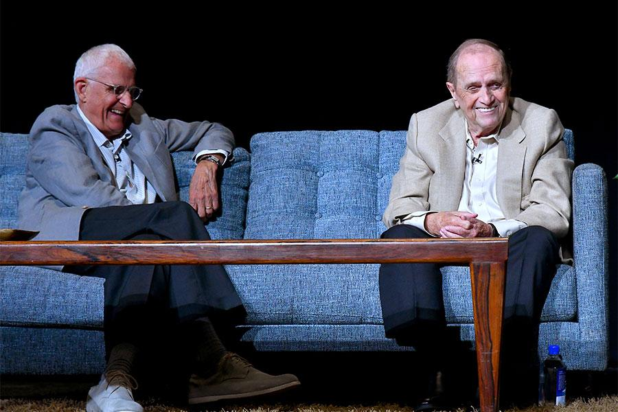 Peter Bonerz and Bob Newhart at The Rise of the Cerebral Comedy: A Conversation with Bob Newhart, presented Tuesday, Aug. 8, 2017, at the Television Academy's Wolf Theater at the Saban Media Center in North Hollywood, California.