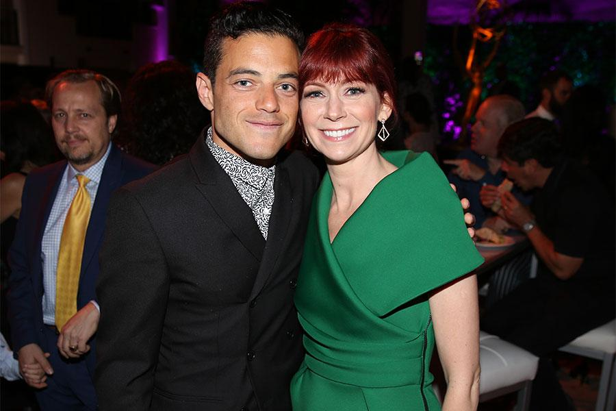 Rami Malek and Carrie Preston at the Performers Peer Group Celebration, August 22, 2016, at the Montage Beverly Hills in Beverly Hills, California.