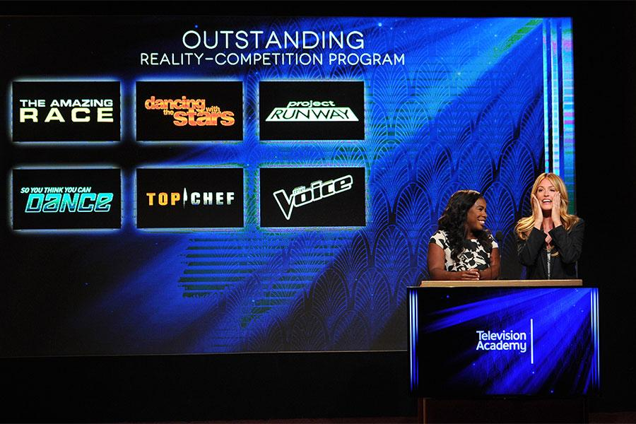 Cat Deeley reacts as she and Uzo Aduba announce the nominees for Outstanding Reality Competition Series at the nominations announcement for the 67th Emmy Awards  July 16, 2015 at the Pacific Design Center in Los Angeles, CA.