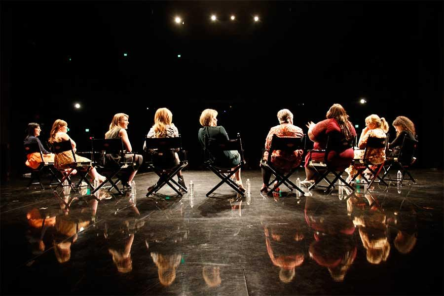 The cast of American Horror Story addresses the audience at An Evening with the Women of American Horror Story in Hollywood, California.