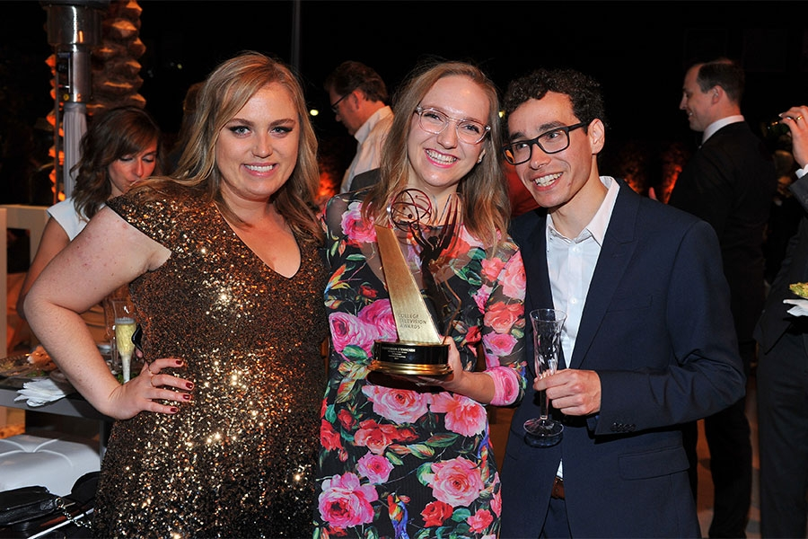 Jane Holland, Daisygreen Stenhouse, and Max Sacolla at the 38th College Television Awards presented by the Television Academy Foundation at the Saban Media Center on Wednesday, May 24, 2017, in the NoHo Arts District in Los Angeles.