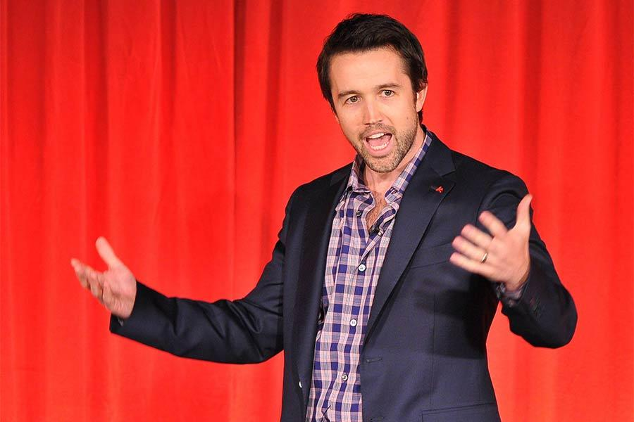 The evening's host, Rob McElhenney of It's Always Sunny in Philadelphia, onstage at An Evening with Game of Thrones.