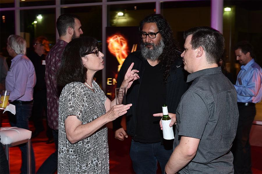 Television Academy governor Ruth Adelman, Pembrooke Andrews, and Tom Morrissey  at the Sound Editing and Sound Mixing nominee reception, September 8, 2016 at the Saban Media Center in North Hollywood, California.
