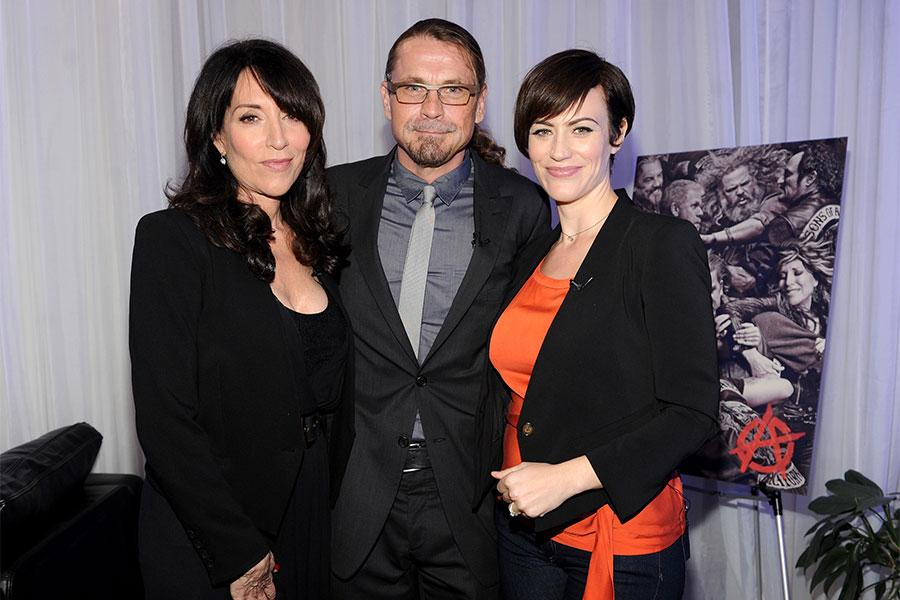 Katey Sagal, Kurt Sutter and Maggie Siff at An Evening with Sons of Anarchy.