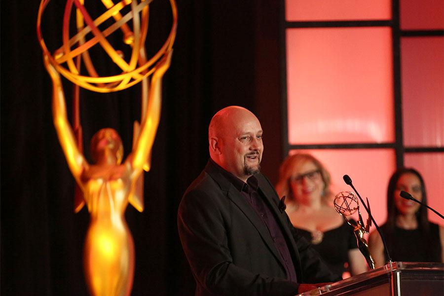 Sam Bolvin speaks at the 68th Engineering Emmy Awards, October 28, 2016 at Loews Hollywood Hotel in Los Angeles, California.