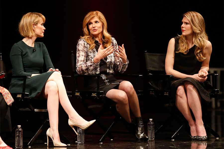 Sarah Paulson, Connie Britton and Lily Rabe onstage at An Evening with the Women of American Horror Story in Hollywood, California.