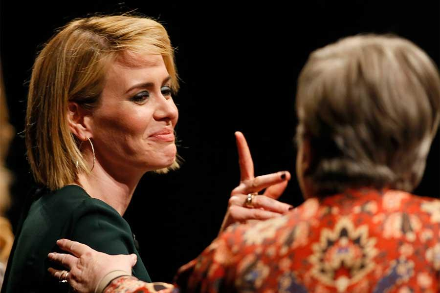 Sarah Paulson and Kathy Bates onstage at An Evening with the Women of American Horror Story in Hollywood, California.