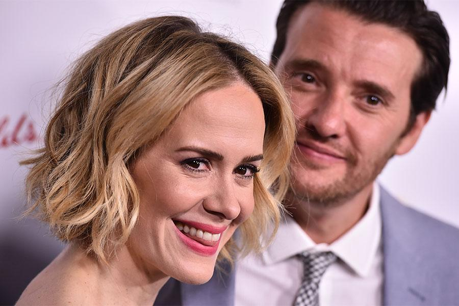 Sarah Paulson and Jason Butler Harner arrive at the Performers Peer Group Celebration August 24 at the Montage in Beverly Hills, California.