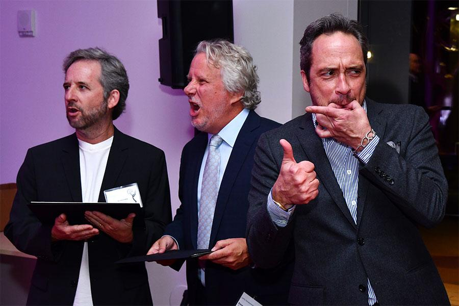 Scott Alexander, Larry Karaszewski, and D. V. DiVincentis at the writers nominee reception, September 14, 2016, at the Saban Media Center in North Hollywood, California.