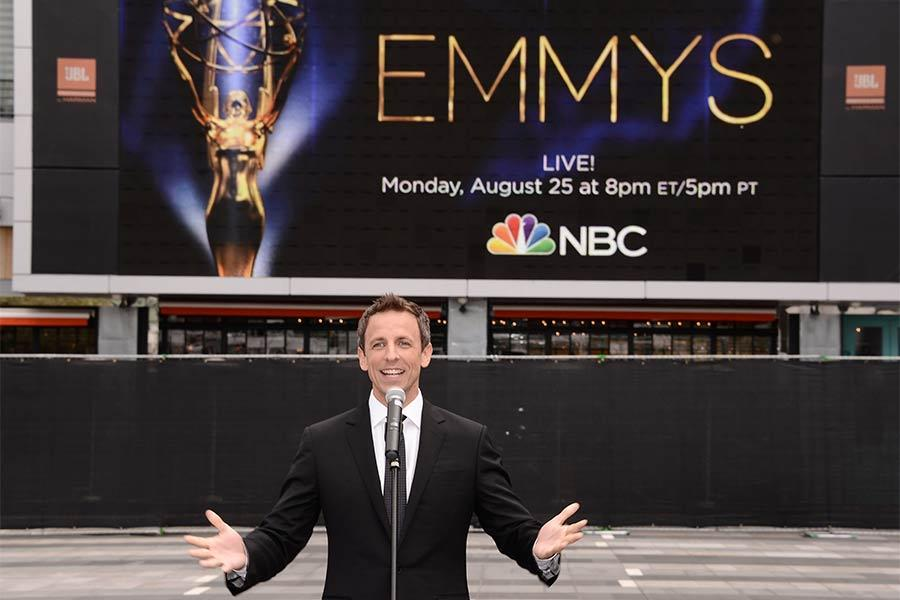 66th Emmys host Seth Meyers at this year's Emmy Awards Red Carpet Rollout ceremony at the Nokia Theatre LA LIVE.