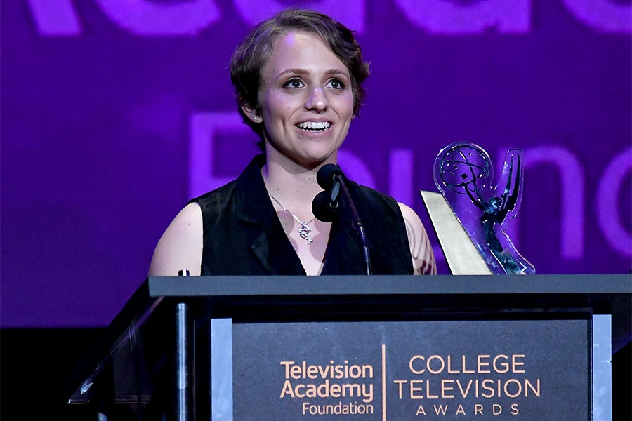 Becky Proiman accepts an award on stage at the 38th College Television Awards presented by the Television Academy Foundation at the Saban Media Center on Wednesday, May 24, 2017, in the NoHo Arts District in Los Angeles.