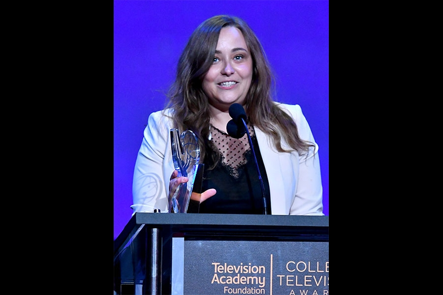 Marta Savina accepts an award on stage at the 38th College Television Awards presented by the Television Academy Foundation at the Saban Media Center on Wednesday, May 24, 2017, in the NoHo Arts District in Los Angeles.