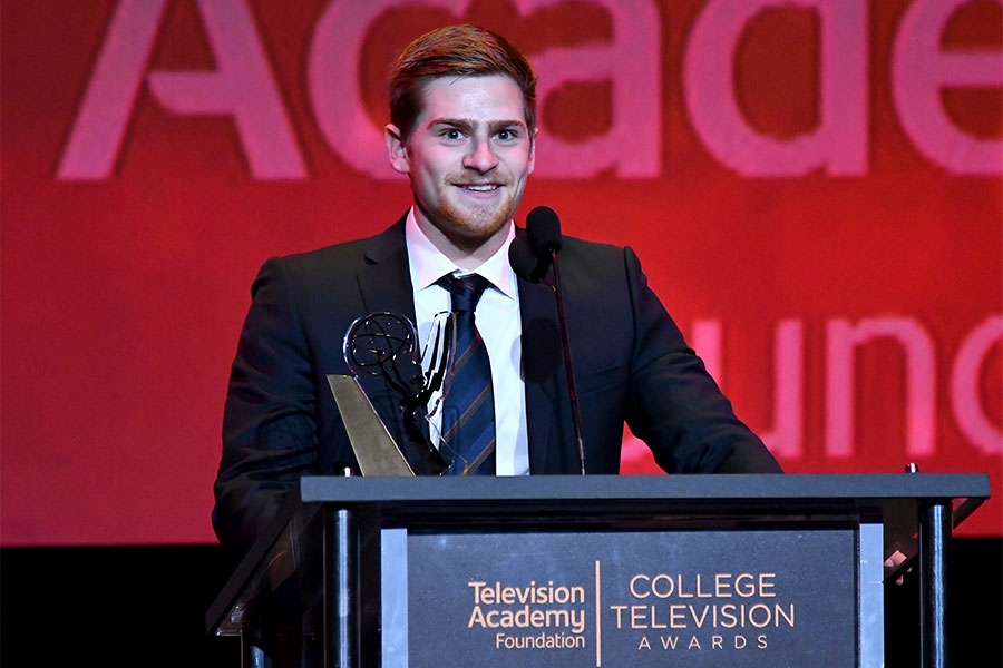 Noah Rashba accepts an award on stage at the 38th College Television Awards presented by the Television Academy Foundation at the Saban Media Center on Wednesday, May 24, 2017, in the NoHo Arts District in Los Angeles.