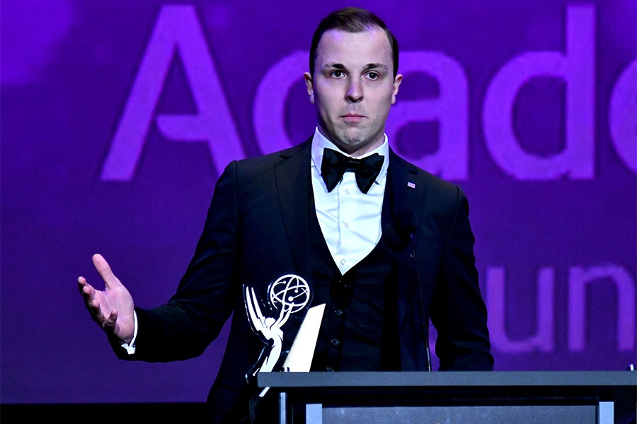 Trevor Smith accepts his award on stage at the 38th College Television Awards presented by the Television Academy Foundation at the Saban Media Center on Wednesday, May 24, 2017, in the NoHo Arts District in Los Angeles.