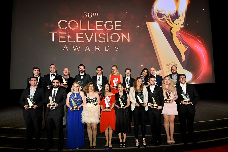 CTA winners pose with their awards on stage at the 38th College Television Awards presented by the Television Academy Foundation at the Saban Media Center on Wednesday, May 24, 2017, in the NoHo Arts District in Los Angeles.