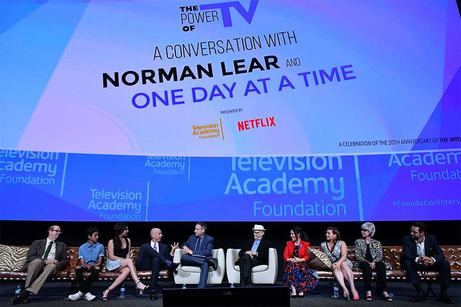 The cast and producers of One Day at a Time onstage at The Power of TV: A Conversation with Norman Lear and One Day at a Time, presented by the Television Academy Foundation and Netflix in celebration of the Foundation's 20th Anniversary of THE INTERVIEWS